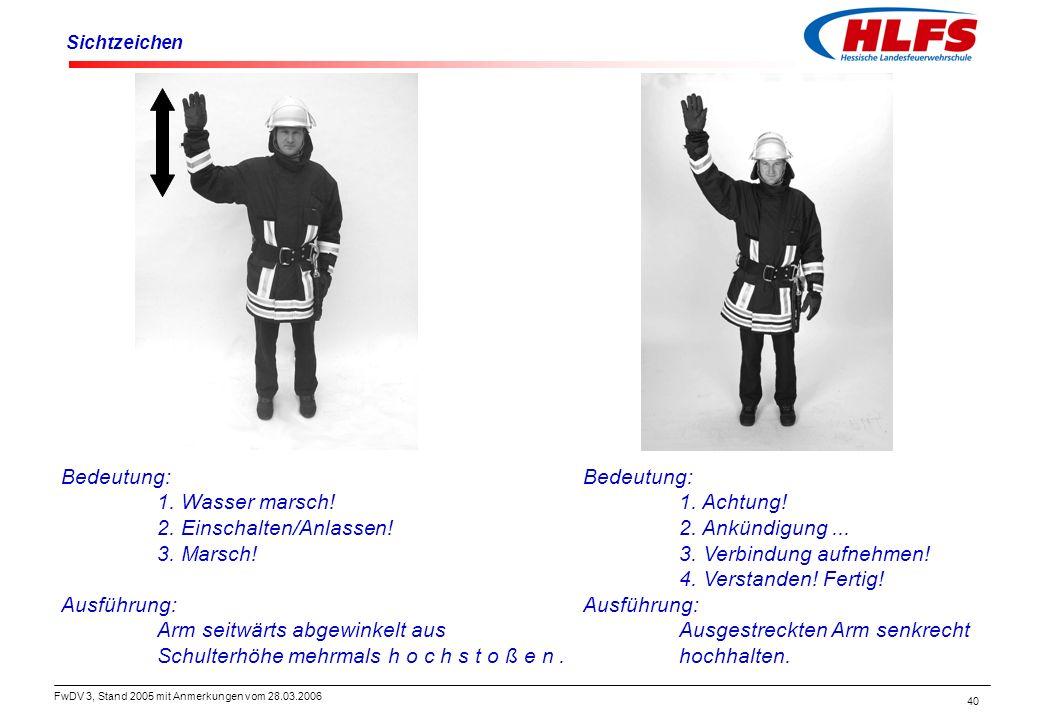 FwDV 3, Stand 2005 mit Anmerkungen vom 28.03.2006 40 Sichtzeichen Bedeutung: 1. Achtung! 2. Ankündigung... 3. Verbindung aufnehmen! 4. Verstanden! Fer