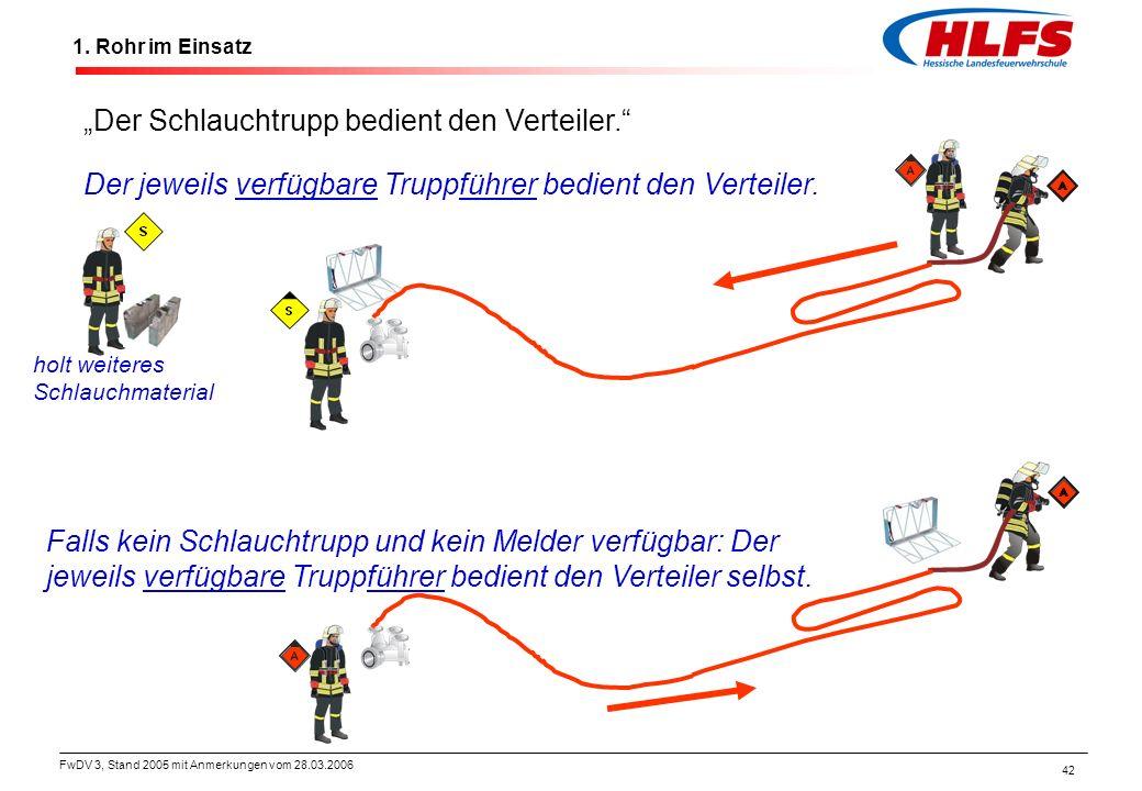 """FwDV 3, Stand 2005 mit Anmerkungen vom 28.03.2006 42 1. Rohr im Einsatz """"Der Schlauchtrupp bedient den Verteiler."""" Der jeweils verfügbare Truppführer"""