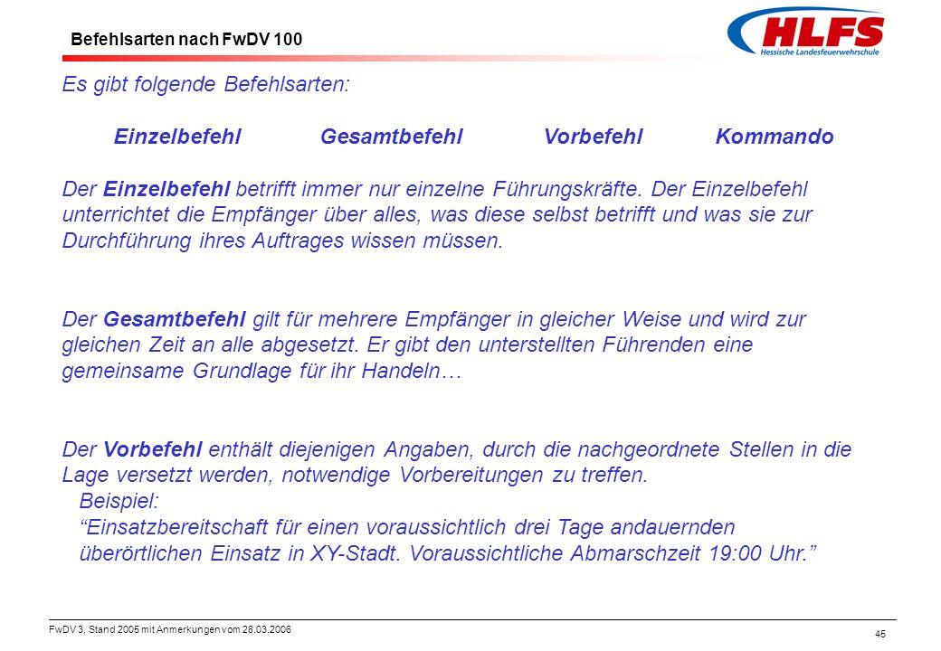 FwDV 3, Stand 2005 mit Anmerkungen vom 28.03.2006 45 Es gibt folgende Befehlsarten: EinzelbefehlGesamtbefehlVorbefehlKommando Der Einzelbefehl betriff