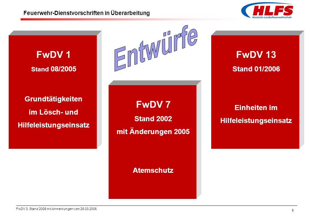 """FwDV 3, Stand 2005 mit Anmerkungen vom 28.03.2006 6 Der Weg zur Neufassung der FwDV 3 """"Einheiten im Löscheinsatz Die Projektgruppe FwDV des AFKzV stimmt dem Entwurf zu."""