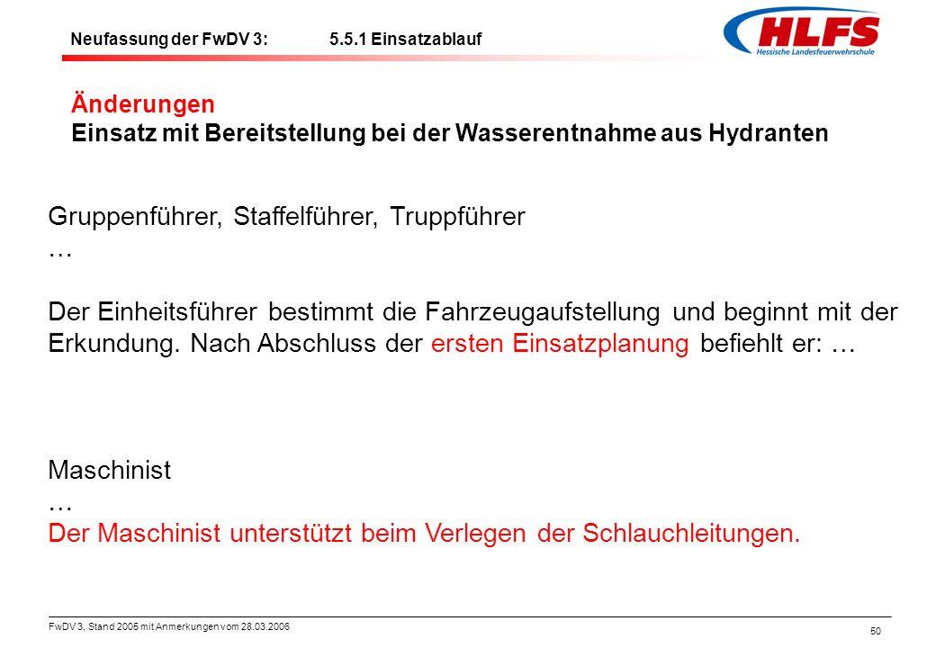 FwDV 3, Stand 2005 mit Anmerkungen vom 28.03.2006 50 Änderungen Einsatz mit Bereitstellung bei der Wasserentnahme aus Hydranten Gruppenführer, Staffel