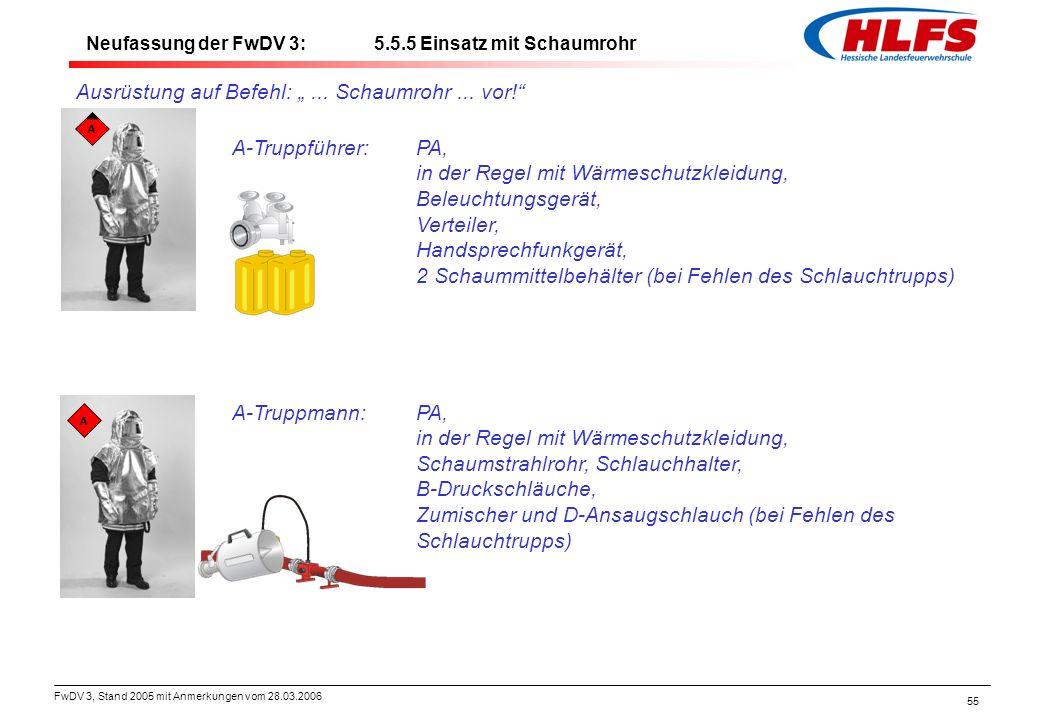 """FwDV 3, Stand 2005 mit Anmerkungen vom 28.03.2006 55 Ausrüstung auf Befehl: """"... Schaumrohr... vor!"""" A-Truppführer:PA, in der Regel mit Wärmeschutzkle"""