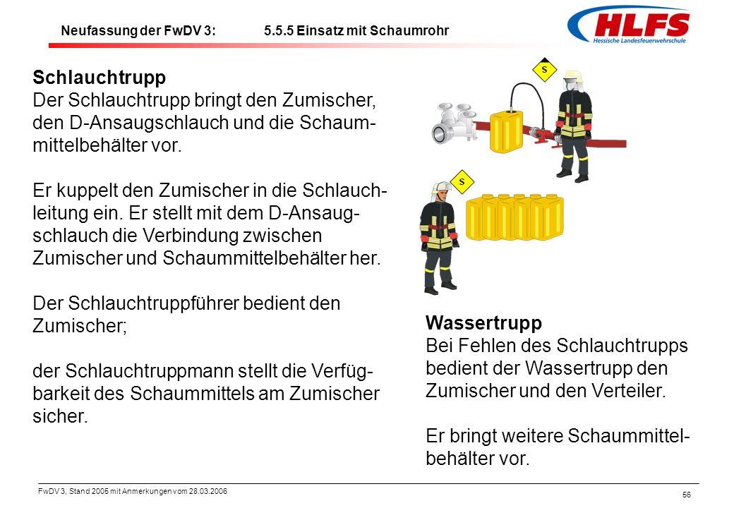 FwDV 3, Stand 2005 mit Anmerkungen vom 28.03.2006 56 Schlauchtrupp Der Schlauchtrupp bringt den Zumischer, den D-Ansaugschlauch und die Schaum- mittel