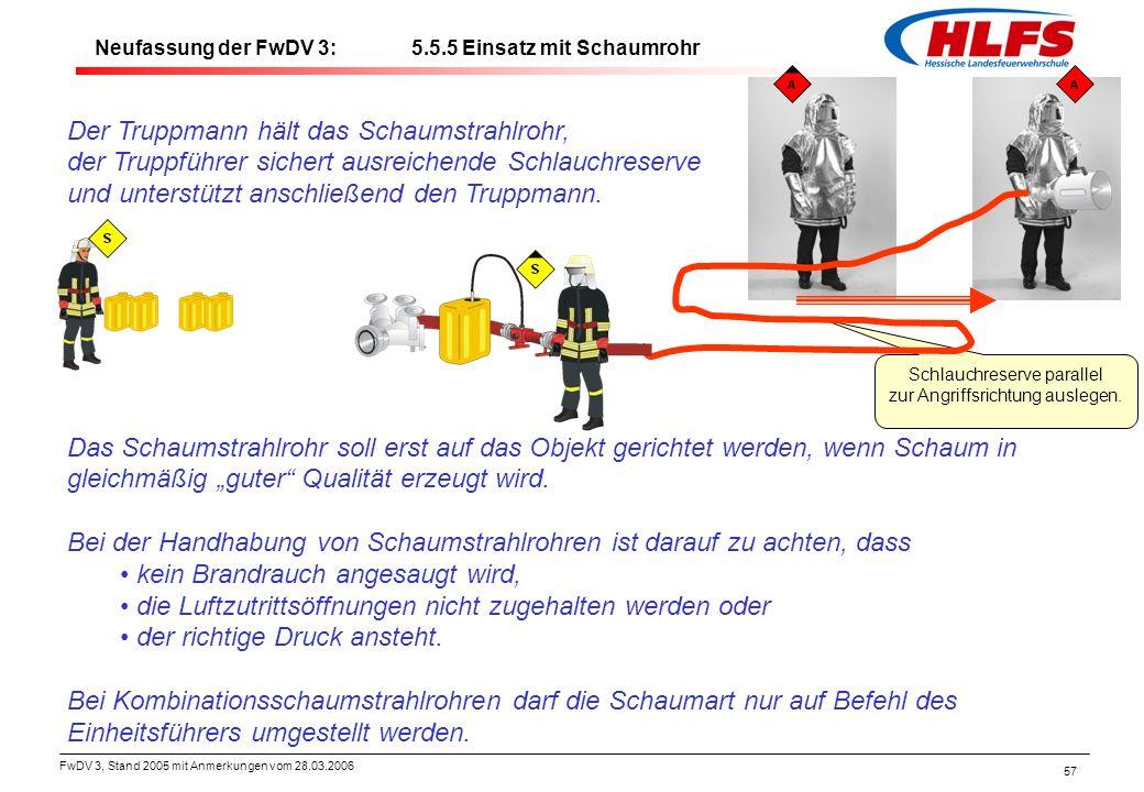 FwDV 3, Stand 2005 mit Anmerkungen vom 28.03.2006 57 Der Truppmann hält das Schaumstrahlrohr, der Truppführer sichert ausreichende Schlauchreserve und