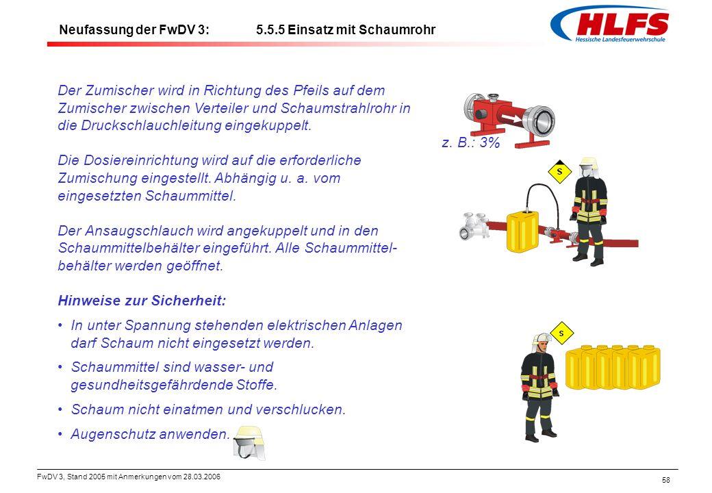 FwDV 3, Stand 2005 mit Anmerkungen vom 28.03.2006 58 Der Zumischer wird in Richtung des Pfeils auf dem Zumischer zwischen Verteiler und Schaumstrahlro