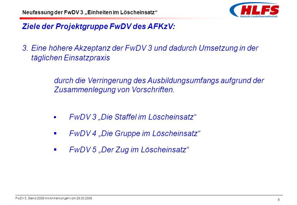 FwDV 3, Stand 2005 mit Anmerkungen vom 28.03.2006 9 Ziele der Projektgruppe FwDV des AFKzV: 3.Eine höhere Akzeptanz der FwDV 3 und dadurch Umsetzung i