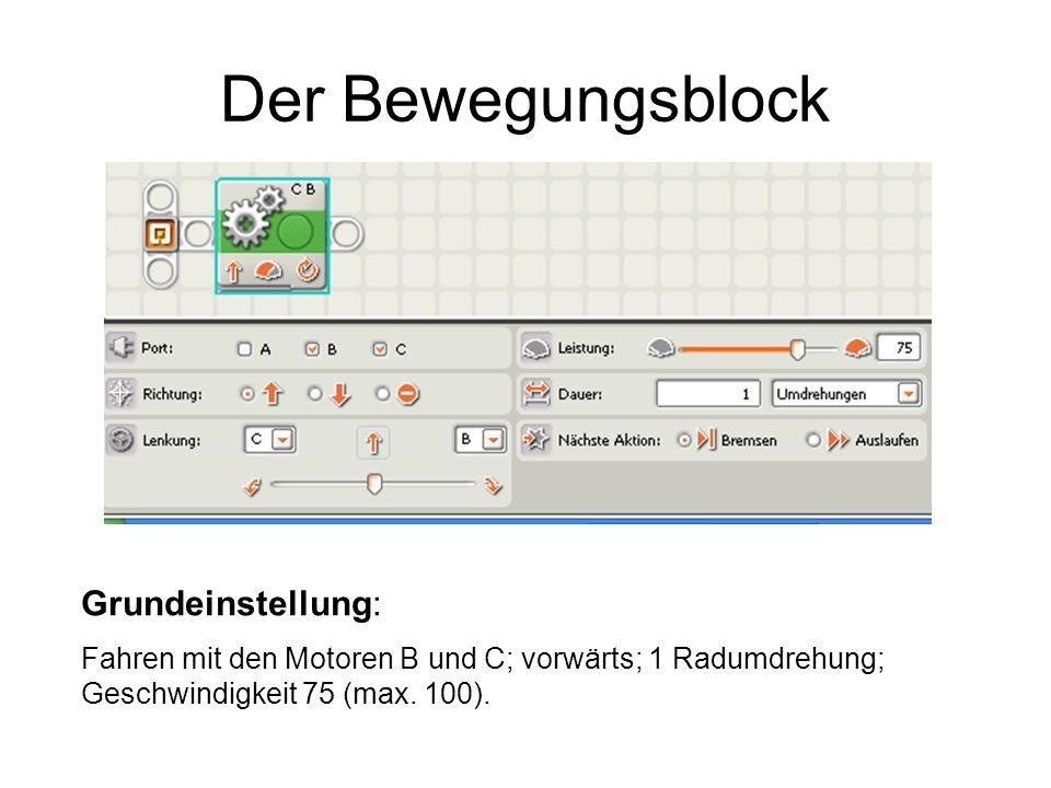 Der Bewegungsblock Die vier Einstellungen Dauer sind an den Symbolen im Bewegungsblock abzulesen; ebenso wie die Leistung und (Fahrt)Richtung .