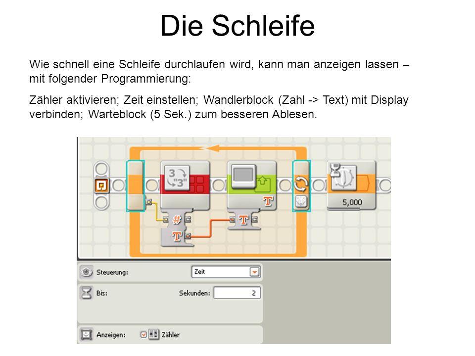 Die Schleife Wie schnell eine Schleife durchlaufen wird, kann man anzeigen lassen – mit folgender Programmierung: Zähler aktivieren; Zeit einstellen;