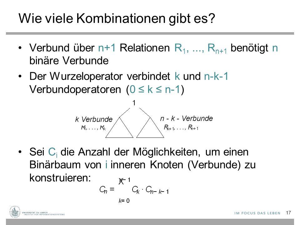 Wie viele Kombinationen gibt es? Verbund über n+1 Relationen R 1,..., R n+1 benötigt n binäre Verbunde Der Wurzeloperator verbindet k und n-k-1 Verbun