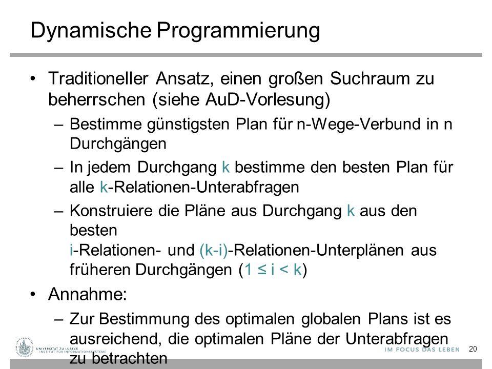 Dynamische Programmierung Traditioneller Ansatz, einen großen Suchraum zu beherrschen (siehe AuD-Vorlesung) –Bestimme günstigsten Plan für n-Wege-Verb