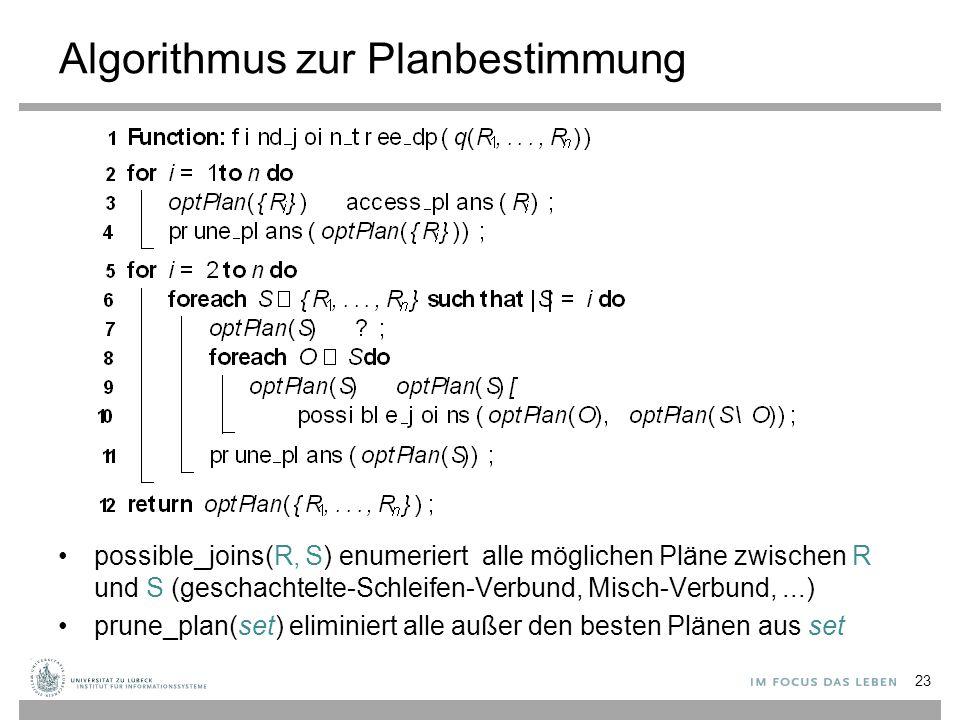 Algorithmus zur Planbestimmung possible_joins(R, S) enumeriert alle möglichen Pläne zwischen R und S (geschachtelte-Schleifen-Verbund, Misch-Verbund,.