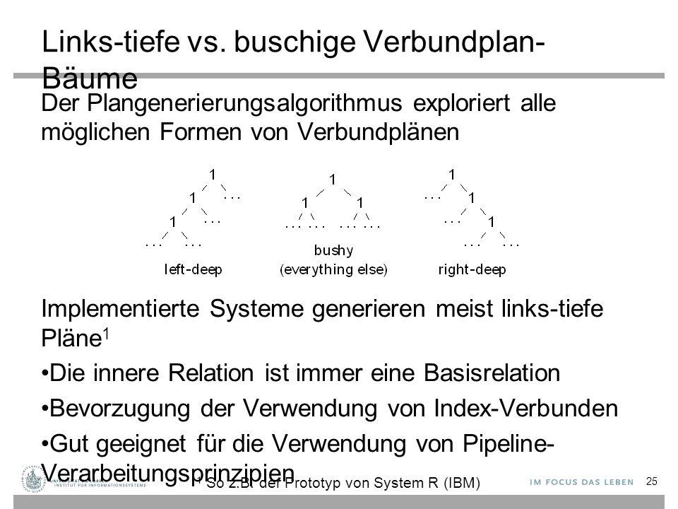 Links-tiefe vs. buschige Verbundplan- Bäume Der Plangenerierungsalgorithmus exploriert alle möglichen Formen von Verbundplänen Implementierte Systeme