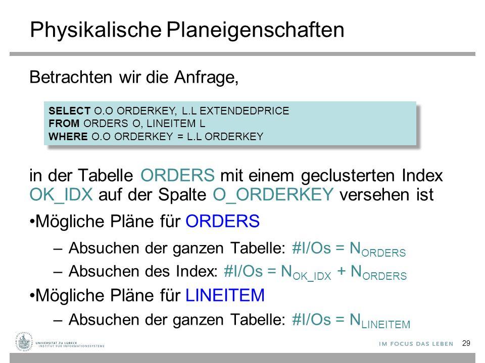 Physikalische Planeigenschaften Betrachten wir die Anfrage, in der Tabelle ORDERS mit einem geclusterten Index OK_IDX auf der Spalte O_ORDERKEY verseh