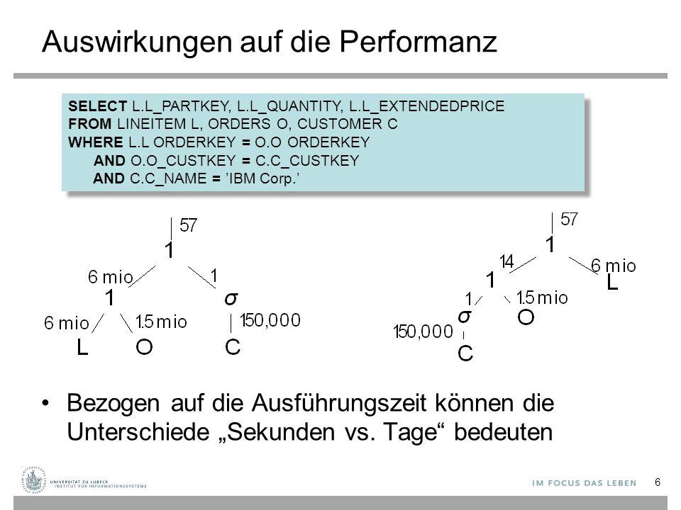 """Auswirkungen auf die Performanz Bezogen auf die Ausführungszeit können die Unterschiede """"Sekunden vs. Tage"""" bedeuten 6 SELECT L.L_PARTKEY, L.L_QUANTIT"""