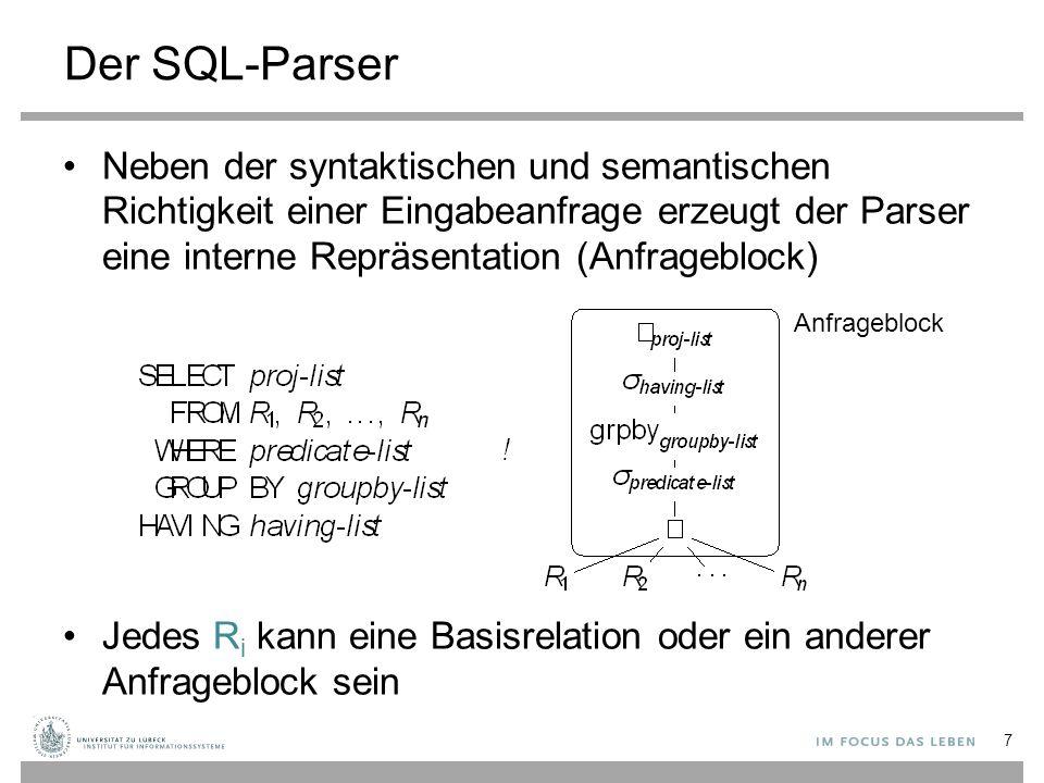 Der SQL-Parser Neben der syntaktischen und semantischen Richtigkeit einer Eingabeanfrage erzeugt der Parser eine interne Repräsentation (Anfrageblock)