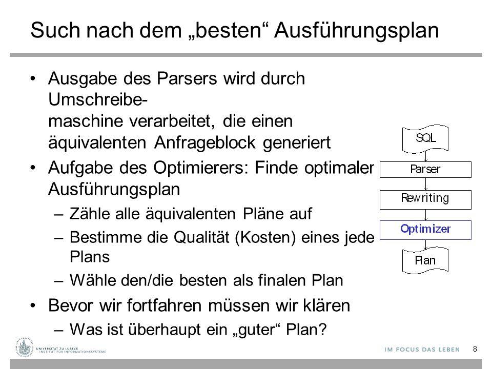 """Such nach dem """"besten"""" Ausführungsplan Ausgabe des Parsers wird durch Umschreibe- maschine verarbeitet, die einen äquivalenten Anfrageblock generiert"""
