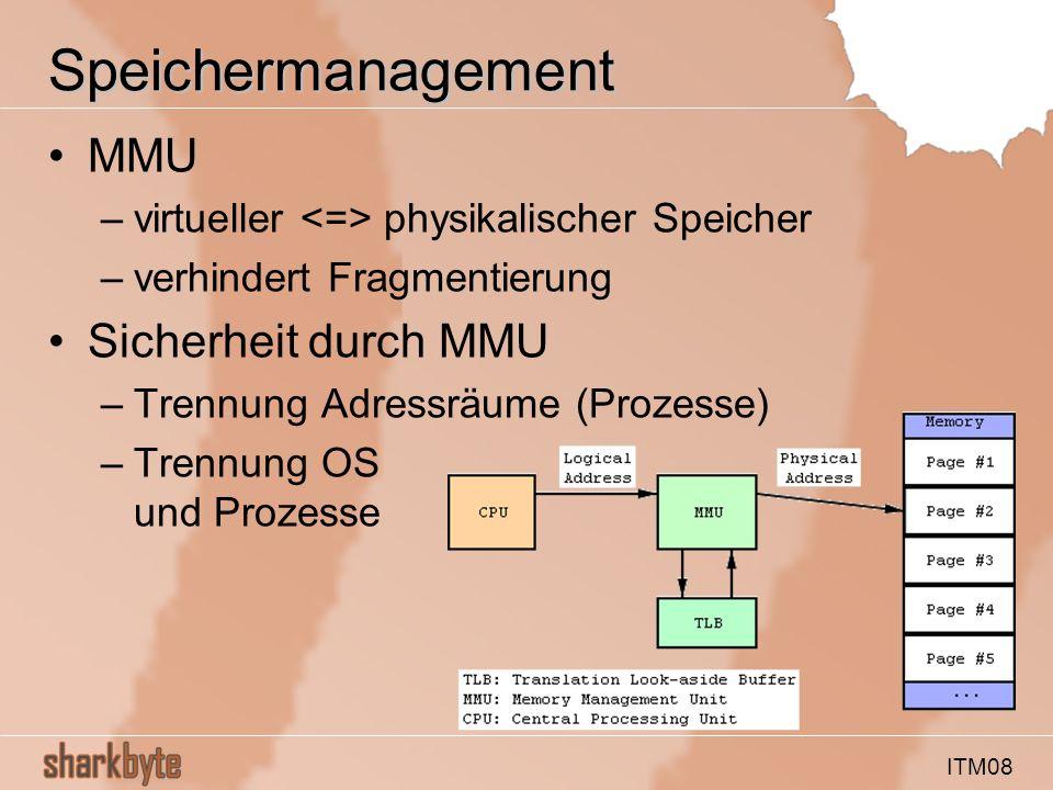 ITM08 Speichermanagement MMU –virtueller physikalischer Speicher –verhindert Fragmentierung Sicherheit durch MMU –Trennung Adressräume (Prozesse) –Trennung OS und Prozesse