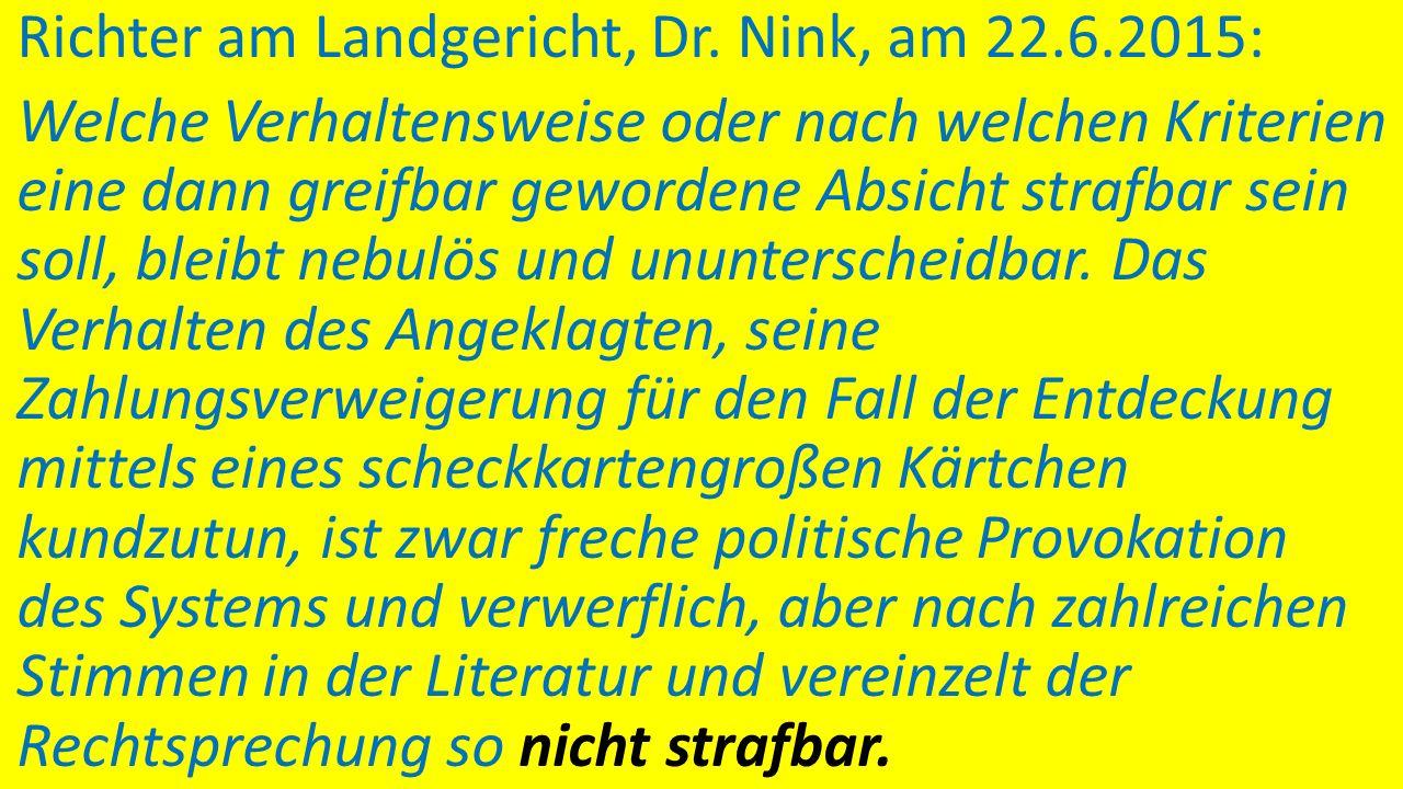 """Rechtslage ab 2004: Nur das """"Schwarzfahren"""" mit Kennzeichnung wäre straffrei … Aus Urs Kindhäuser, Lehr- und Praxiskommentar zum StGB. Baden-Baden: No"""