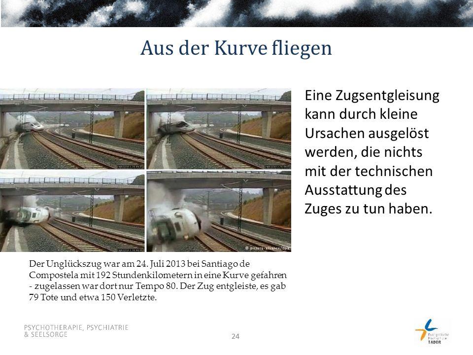 24 Aus der Kurve fliegen Eine Zugsentgleisung kann durch kleine Ursachen ausgelöst werden, die nichts mit der technischen Ausstattung des Zuges zu tun