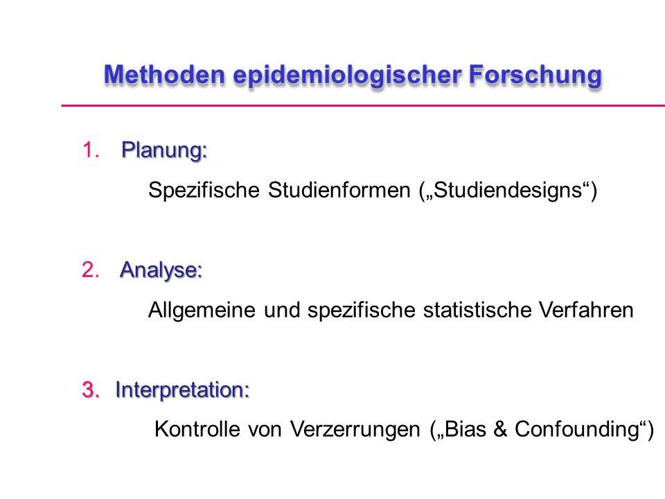 Methoden epidemiologischer Forschung Planung: 1.