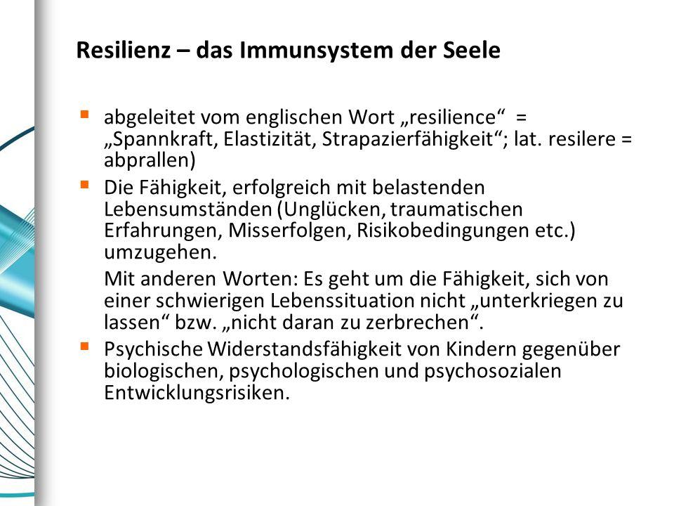 """Resilienz – das Immunsystem der Seele  abgeleitet vom englischen Wort """"resilience"""" = """"Spannkraft, Elastizität, Strapazierfähigkeit""""; lat. resilere ="""