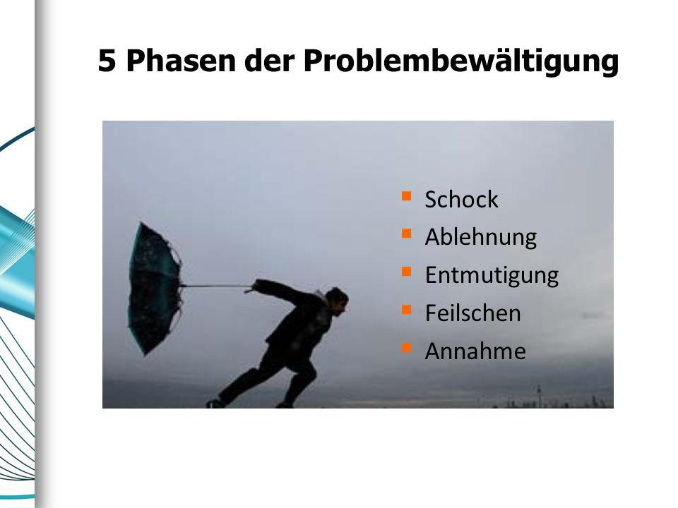 5 Phasen der Problembewältigung  Schock  Ablehnung  Entmutigung  Feilschen  Annahme