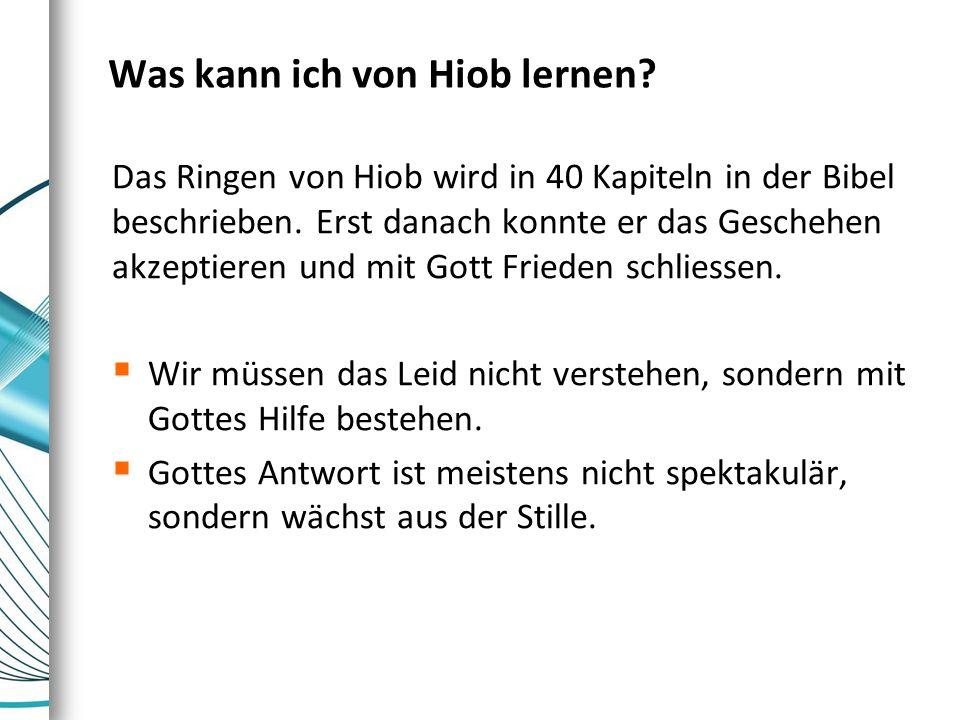 Was kann ich von Hiob lernen? Das Ringen von Hiob wird in 40 Kapiteln in der Bibel beschrieben. Erst danach konnte er das Geschehen akzeptieren und mi