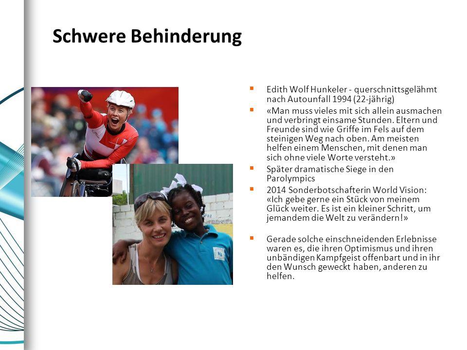 Schwere Behinderung  Edith Wolf Hunkeler - querschnittsgelähmt nach Autounfall 1994 (22-jährig)  «Man muss vieles mit sich allein ausmachen und verb
