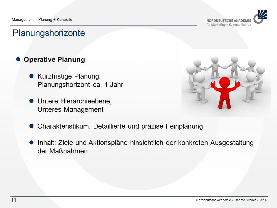 Norddeutsche Akademie / Renate Streuer / 2014 Management – Planung + Kontrolle 11 Planungshorizonte lOperative Planung lKurzfristige Planung: Planungshorizont ca.