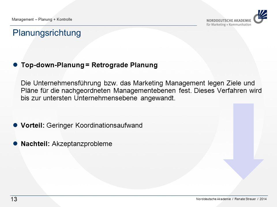 Norddeutsche Akademie / Renate Streuer / 2014 Management – Planung + Kontrolle 13 Planungsrichtung lTop-down-Planung = Retrograde Planung Die Unternehmensführung bzw.