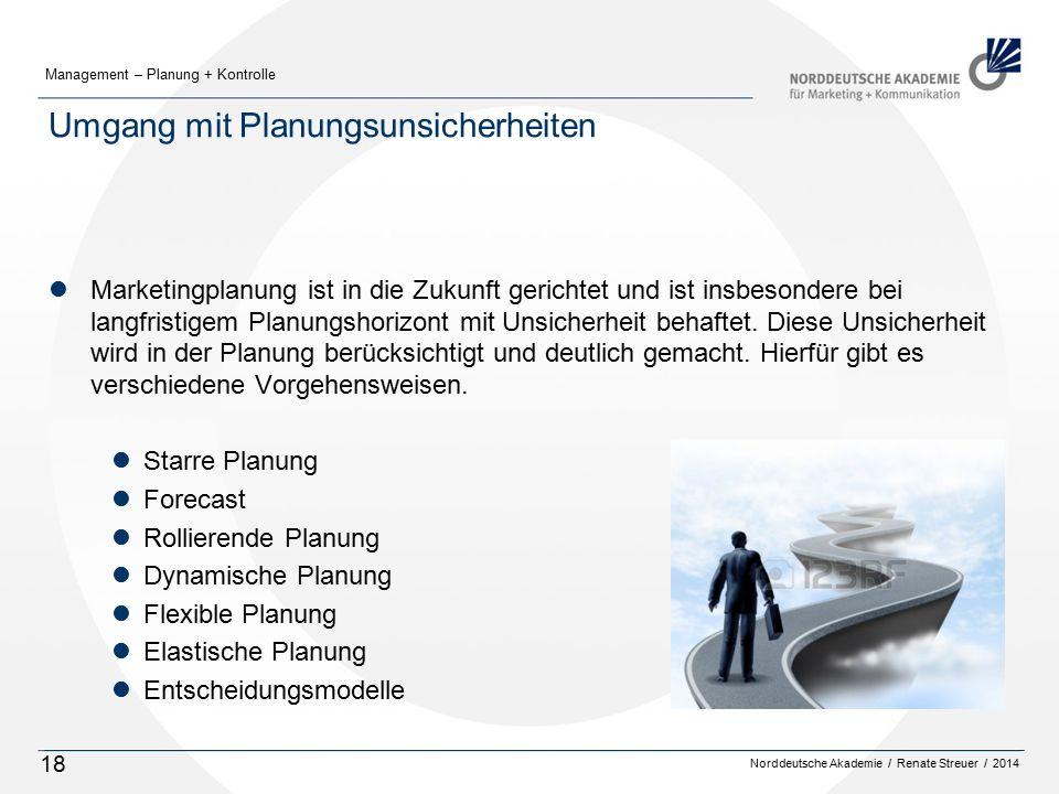 Norddeutsche Akademie / Renate Streuer / 2014 Management – Planung + Kontrolle 18 Umgang mit Planungsunsicherheiten lMarketingplanung ist in die Zukunft gerichtet und ist insbesondere bei langfristigem Planungshorizont mit Unsicherheit behaftet.