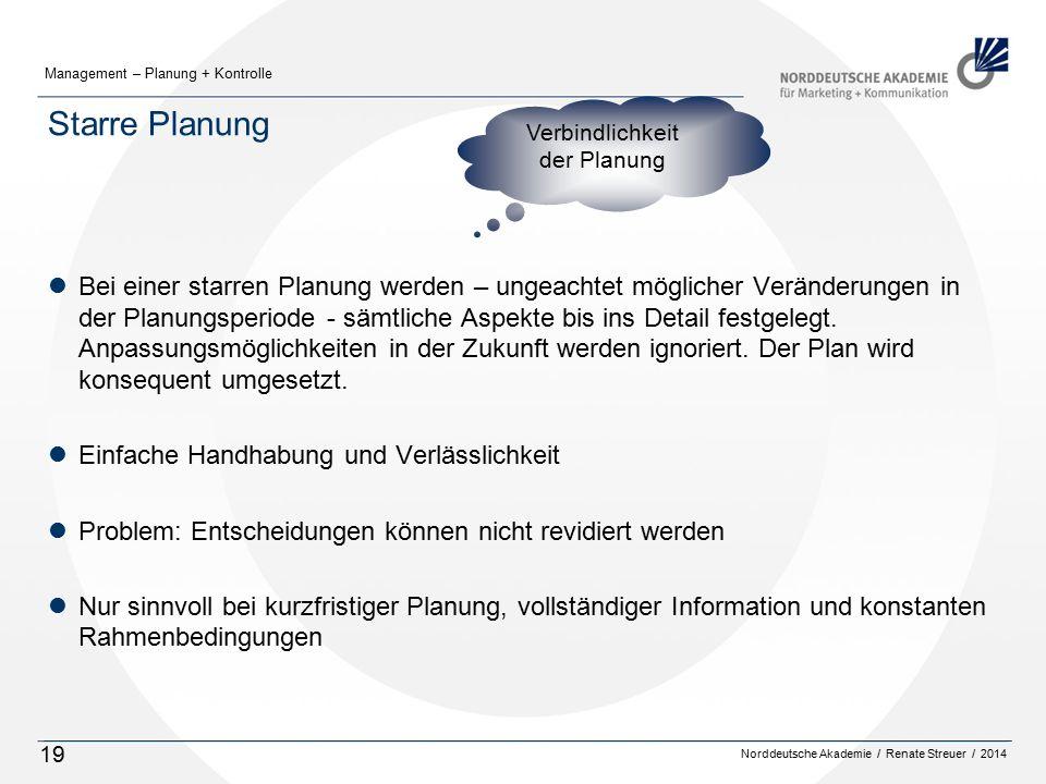 Norddeutsche Akademie / Renate Streuer / 2014 Management – Planung + Kontrolle 19 Starre Planung lBei einer starren Planung werden – ungeachtet möglicher Veränderungen in der Planungsperiode - sämtliche Aspekte bis ins Detail festgelegt.