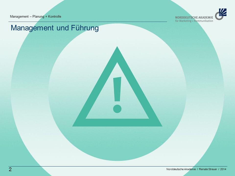 Norddeutsche Akademie / Renate Streuer / 2014 Management – Planung + Kontrolle 2 Management und Führung