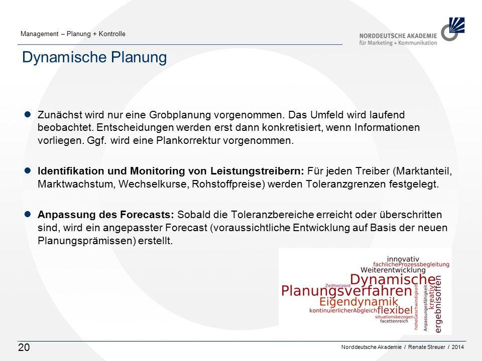 Norddeutsche Akademie / Renate Streuer / 2014 Management – Planung + Kontrolle 20 Dynamische Planung lZunächst wird nur eine Grobplanung vorgenommen.