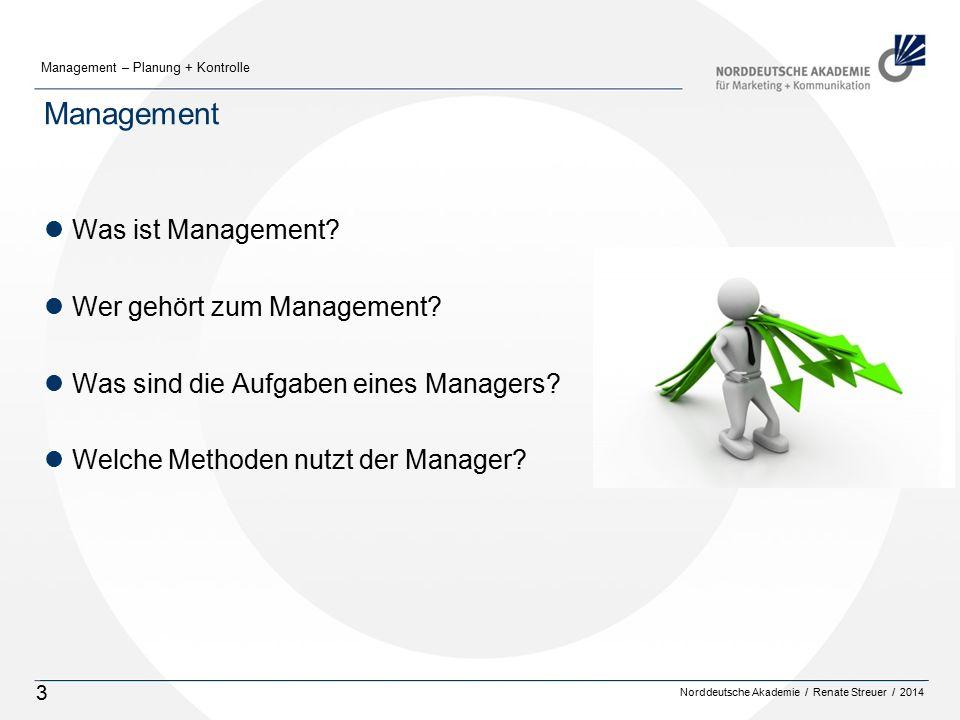 Norddeutsche Akademie / Renate Streuer / 2014 Management – Planung + Kontrolle 3 Management lWas ist Management? lWer gehört zum Management? lWas sind
