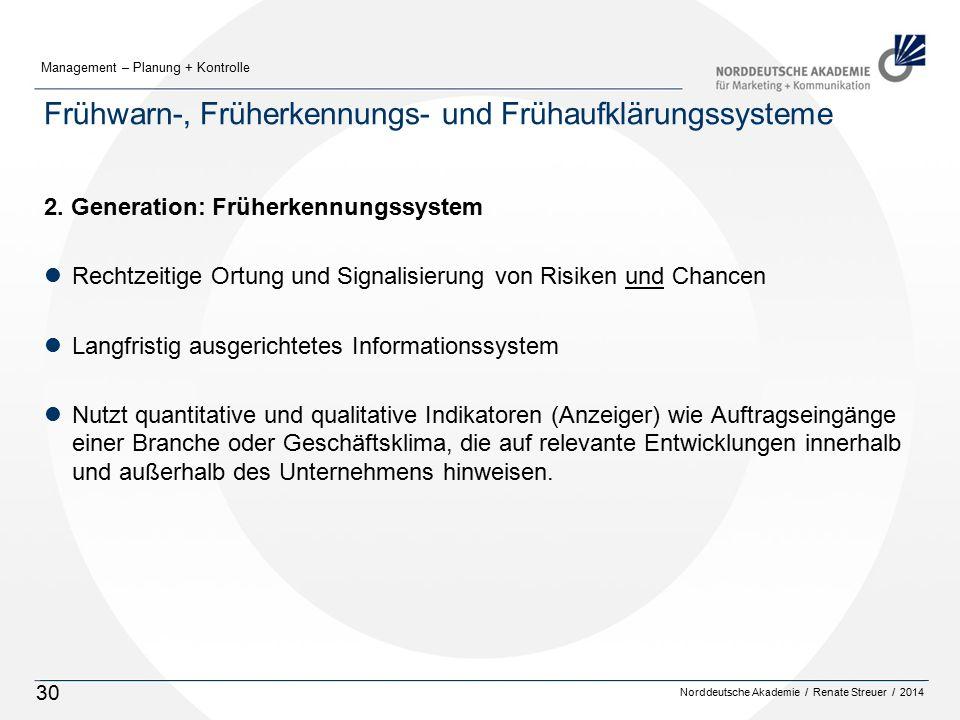 Norddeutsche Akademie / Renate Streuer / 2014 Management – Planung + Kontrolle 30 Frühwarn-, Früherkennungs- und Frühaufklärungssysteme 2. Generation: