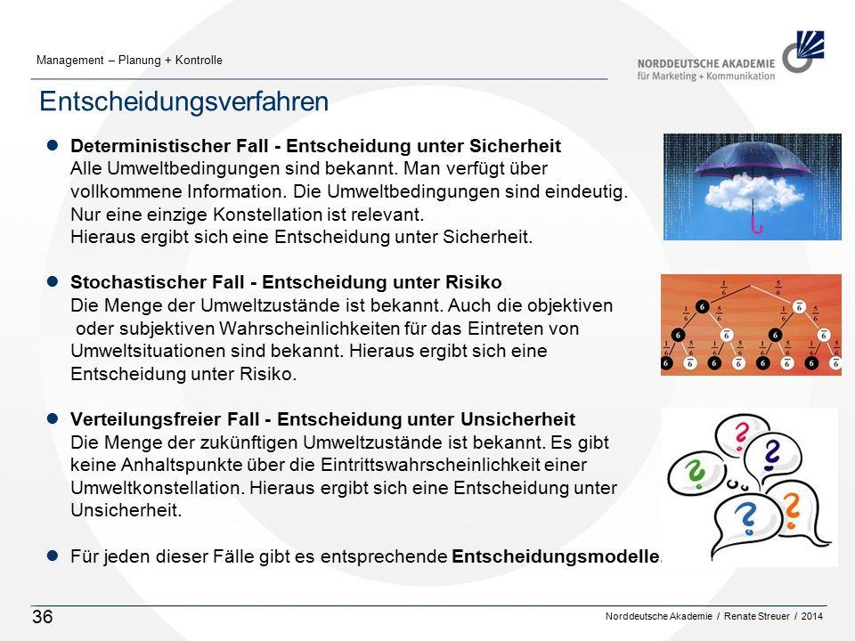 Norddeutsche Akademie / Renate Streuer / 2014 Management – Planung + Kontrolle 36 Entscheidungsverfahren lDeterministischer Fall - Entscheidung unter Sicherheit Alle Umweltbedingungen sind bekannt.