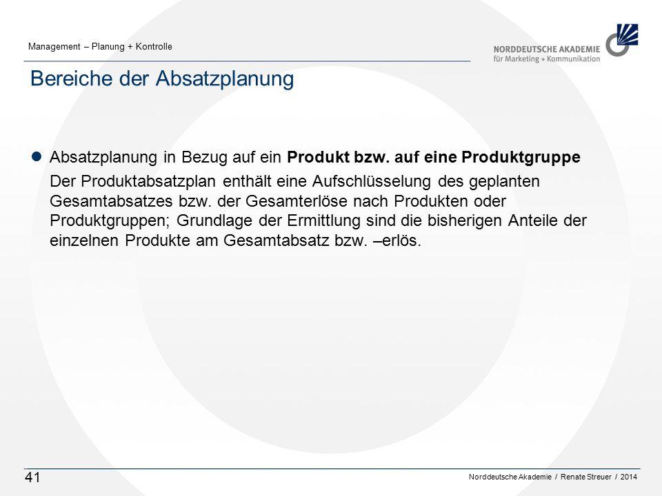 Norddeutsche Akademie / Renate Streuer / 2014 Management – Planung + Kontrolle 41 Bereiche der Absatzplanung lAbsatzplanung in Bezug auf ein Produkt bzw.
