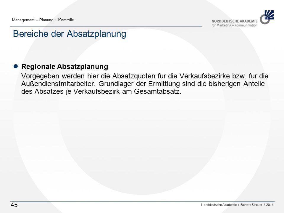 Norddeutsche Akademie / Renate Streuer / 2014 Management – Planung + Kontrolle 45 Bereiche der Absatzplanung lRegionale Absatzplanung Vorgegeben werden hier die Absatzquoten für die Verkaufsbezirke bzw.