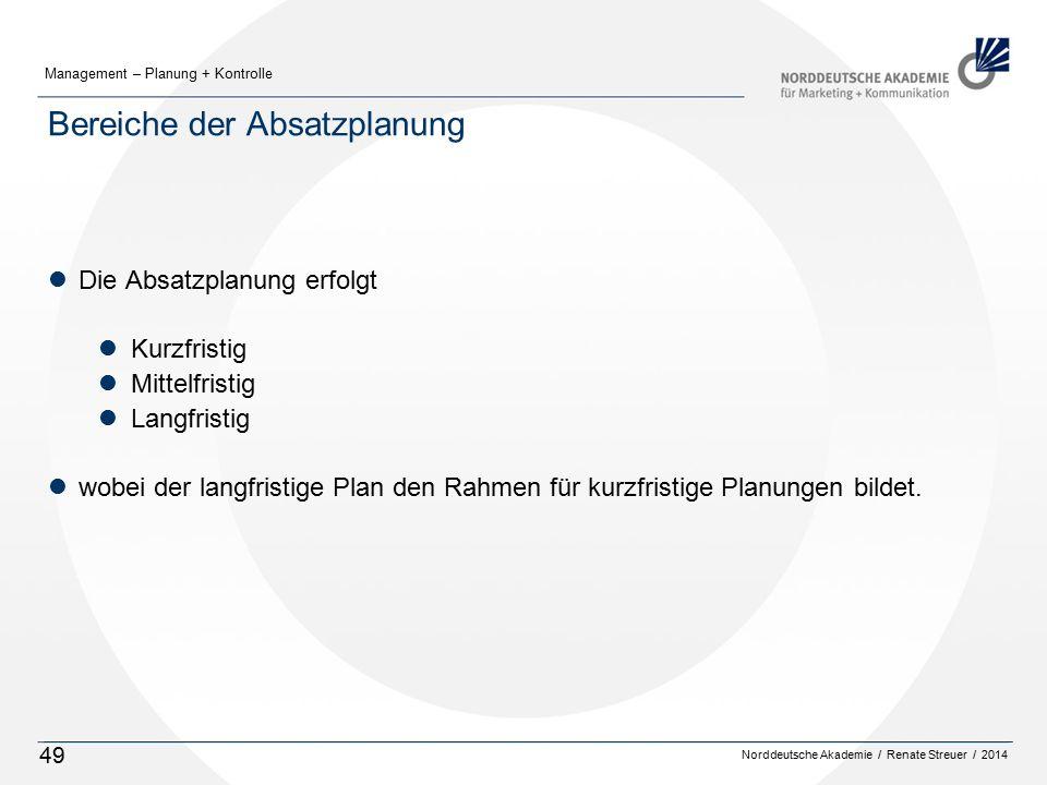 Norddeutsche Akademie / Renate Streuer / 2014 Management – Planung + Kontrolle 49 Bereiche der Absatzplanung lDie Absatzplanung erfolgt lKurzfristig lMittelfristig lLangfristig lwobei der langfristige Plan den Rahmen für kurzfristige Planungen bildet.