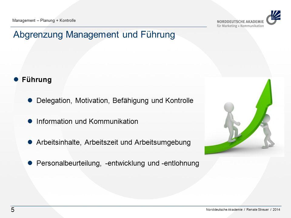 Norddeutsche Akademie / Renate Streuer / 2014 Management – Planung + Kontrolle 5 Abgrenzung Management und Führung lFührung lDelegation, Motivation, B