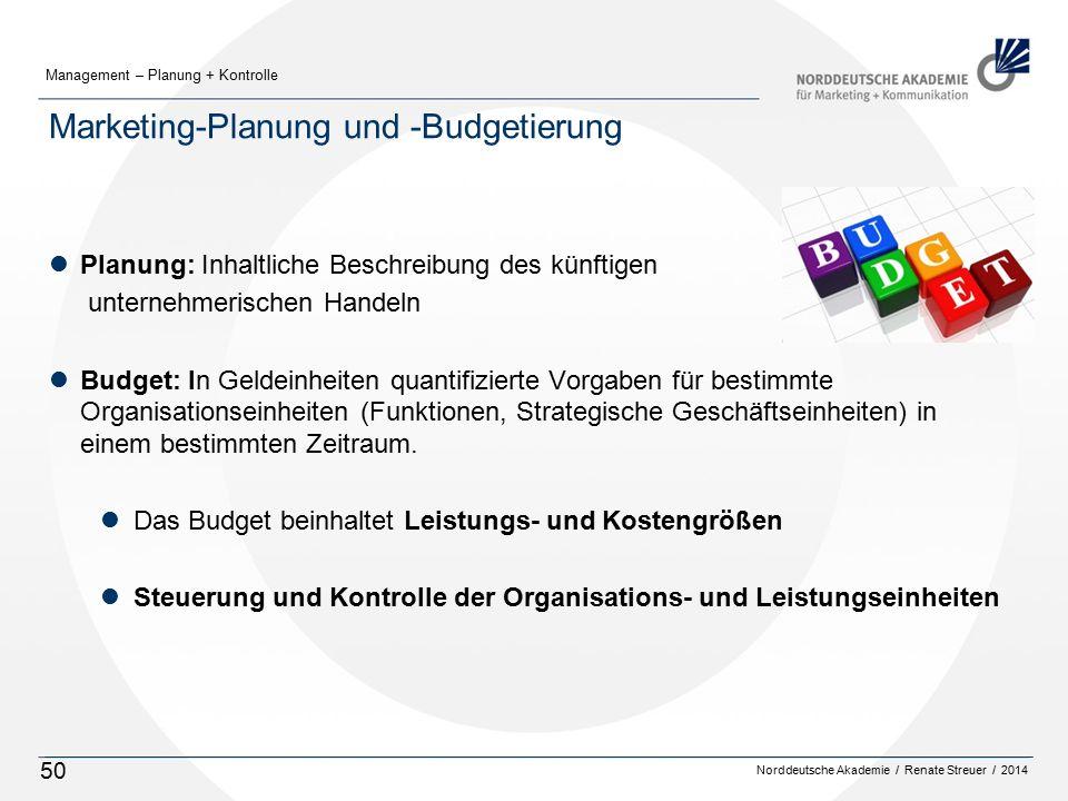 Norddeutsche Akademie / Renate Streuer / 2014 Management – Planung + Kontrolle 50 Marketing-Planung und -Budgetierung lPlanung: Inhaltliche Beschreibu