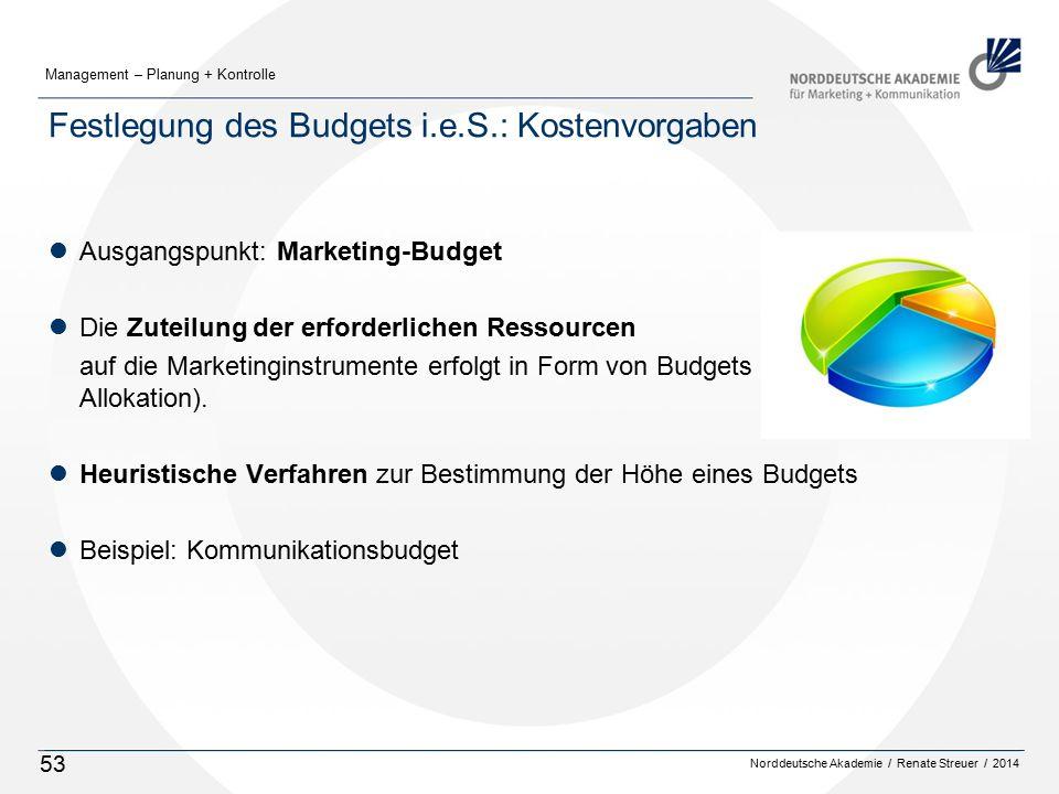 Norddeutsche Akademie / Renate Streuer / 2014 Management – Planung + Kontrolle 53 Festlegung des Budgets i.e.S.: Kostenvorgaben lAusgangspunkt: Marketing-Budget lDie Zuteilung der erforderlichen Ressourcen auf die Marketinginstrumente erfolgt in Form von Budgets (Verteilung = Allokation).