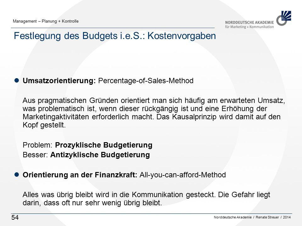 Norddeutsche Akademie / Renate Streuer / 2014 Management – Planung + Kontrolle 54 Festlegung des Budgets i.e.S.: Kostenvorgaben lUmsatzorientierung: P