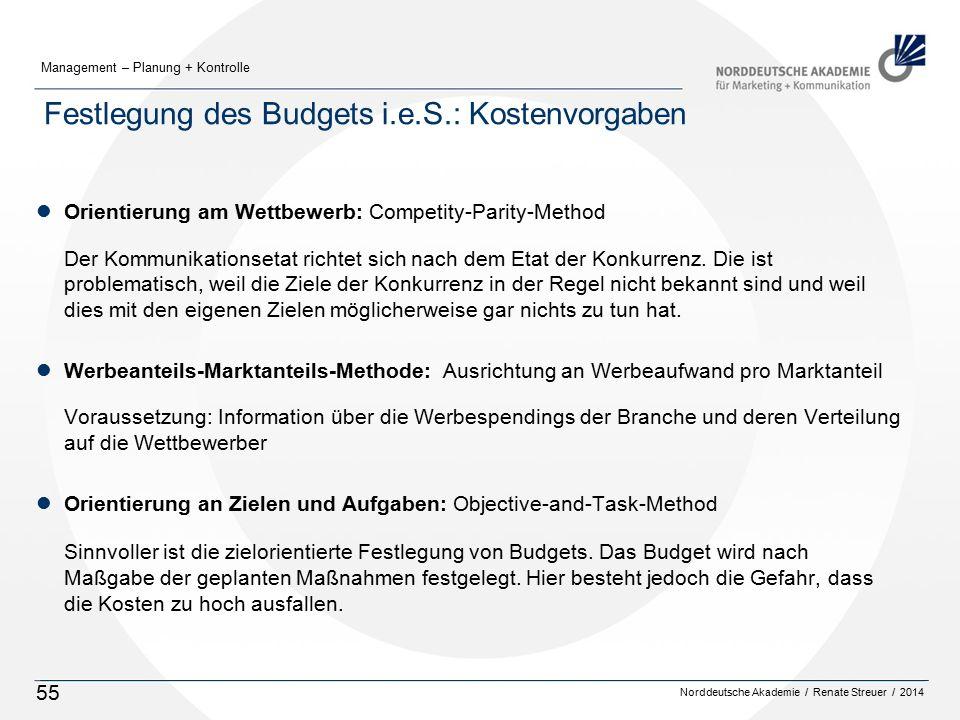 Norddeutsche Akademie / Renate Streuer / 2014 Management – Planung + Kontrolle 55 Festlegung des Budgets i.e.S.: Kostenvorgaben lOrientierung am Wettbewerb: Competity-Parity-Method Der Kommunikationsetat richtet sich nach dem Etat der Konkurrenz.