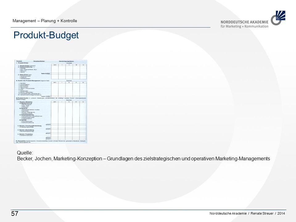 Norddeutsche Akademie / Renate Streuer / 2014 Management – Planung + Kontrolle 57 Produkt-Budget Quelle: Becker, Jochen, Marketing-Konzeption – Grundlagen des zielstrategischen und operativen Marketing-Managements