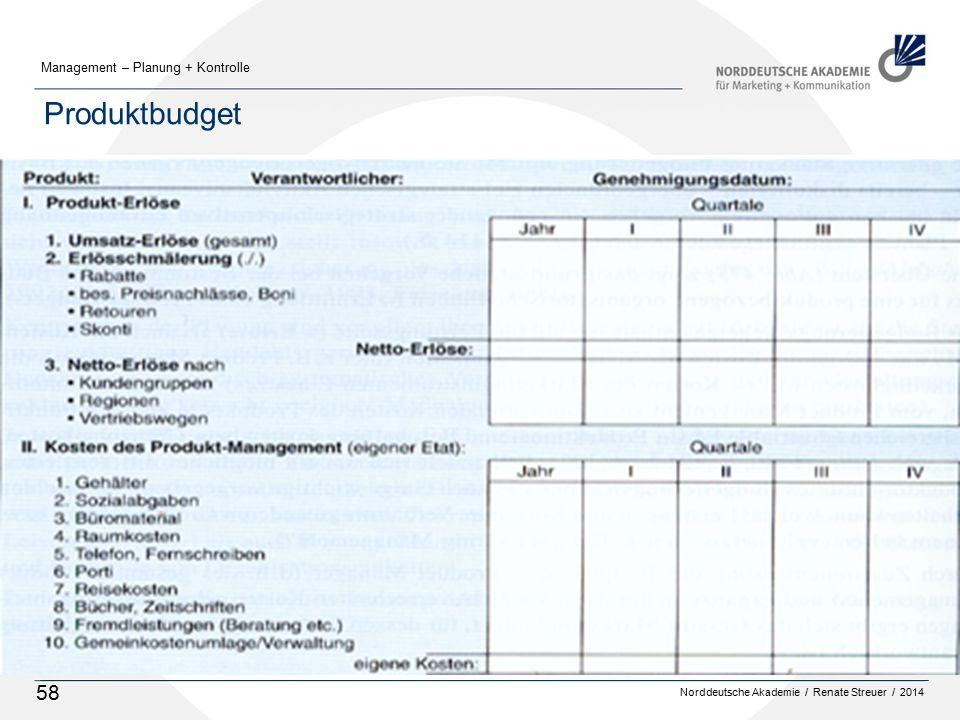 Norddeutsche Akademie / Renate Streuer / 2014 Management – Planung + Kontrolle 58 Produktbudget