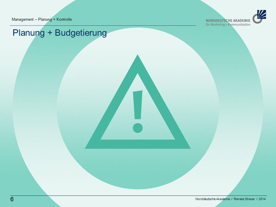 Norddeutsche Akademie / Renate Streuer / 2014 Management – Planung + Kontrolle 6 Planung + Budgetierung