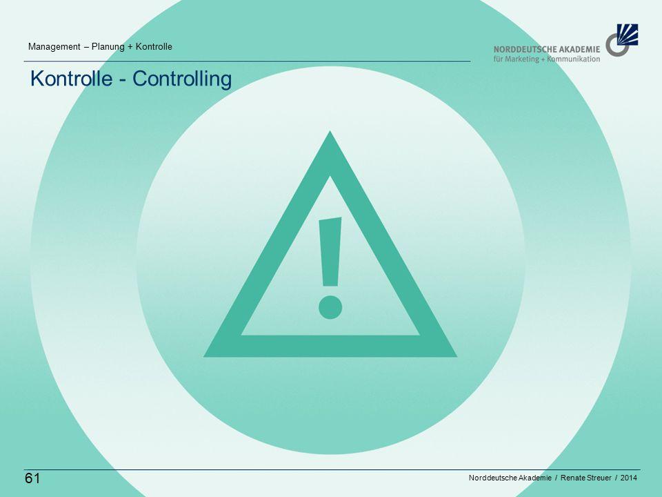 Norddeutsche Akademie / Renate Streuer / 2014 Management – Planung + Kontrolle 61 Kontrolle - Controlling