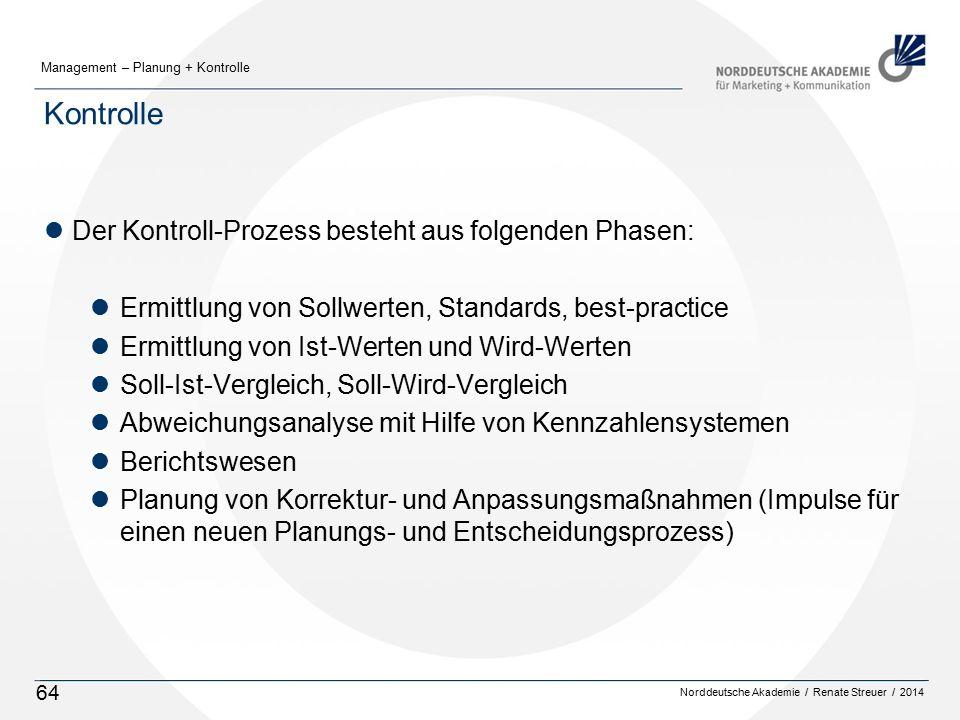 Norddeutsche Akademie / Renate Streuer / 2014 Management – Planung + Kontrolle 64 Kontrolle lDer Kontroll-Prozess besteht aus folgenden Phasen: lErmittlung von Sollwerten, Standards, best-practice lErmittlung von Ist-Werten und Wird-Werten lSoll-Ist-Vergleich, Soll-Wird-Vergleich lAbweichungsanalyse mit Hilfe von Kennzahlensystemen lBerichtswesen lPlanung von Korrektur- und Anpassungsmaßnahmen (Impulse für einen neuen Planungs- und Entscheidungsprozess)